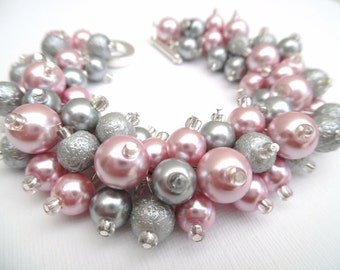Pink and Silver Gray Beaded Bracelet, Pink Wedding, Pearl Bridesmaid Bracelet, Chunky Jewelry, Cluster Bracelet, Pearl Bracelet Gift For Her