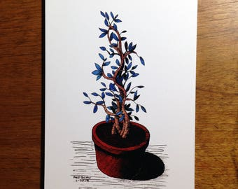 """House plant in a pot with blue leaves - 5x7"""" art print"""