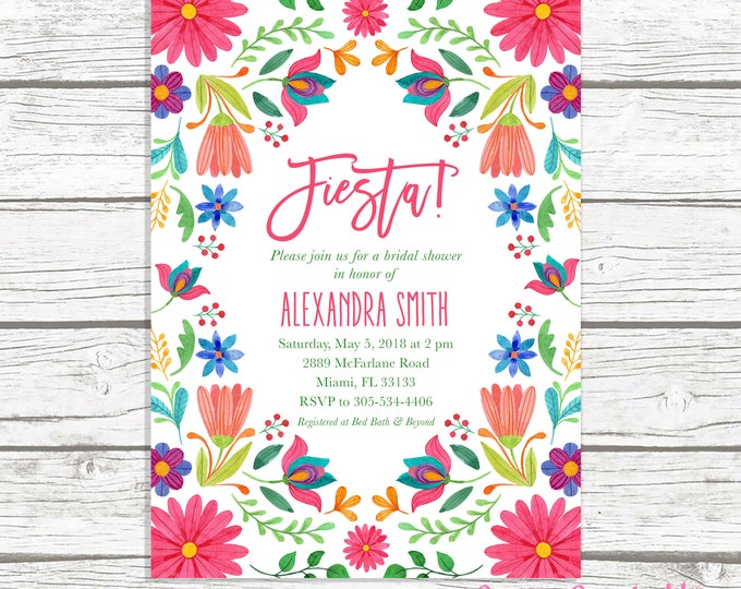 Fiesta Bridal Shower Invitation, Cinco de Mayo Bridal Shower Invitation, Mexican Floral Invite, Wedding Shower, Cinco de Mayo Invite