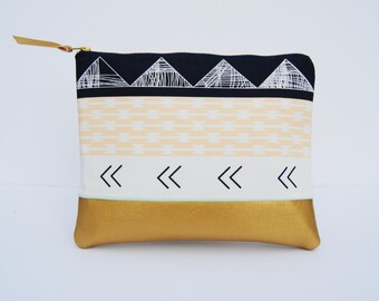 Geometric clutch, Aztec zipper pouch, southwest clutch, tribal clutch, navy gold and coral bag, geometric print bag, bridesmaid gifts