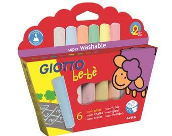 Maxi multicolored x 6 - baby - Ref 467300 GIOTTO sidewalk chalk - until the stock!