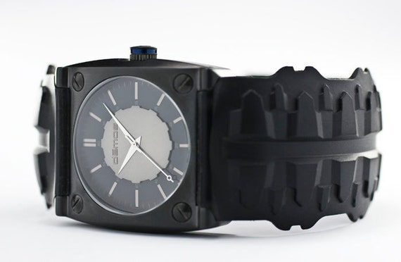 Sons of Anarchy / Mayans MC style - Tire TREAD wristwatch - Tread w/ Matte Black colored case