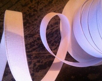 Elastic ribbed color white 15 mm