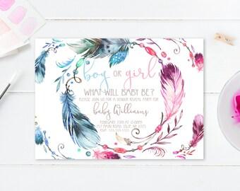 Gender Reveal Invitation, Gender Reveal Party, Boho, Watercolor, Bohemian, Feathers, Gender Reveal Invites, Boho Gender Reveal Invite [579]