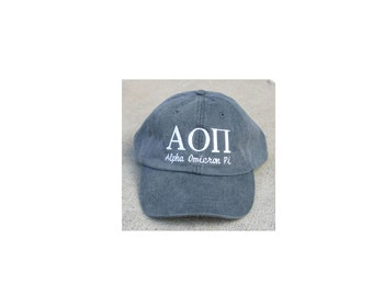 Alpha Omicron Pi with script baseball cap