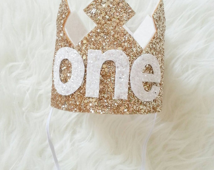 Gold and white Glittery Birthday Crown | Birthday Girl Crown | Cake Smash | 1st Birthday | 21st Birthday | Baby Birthday | Ready to Ship