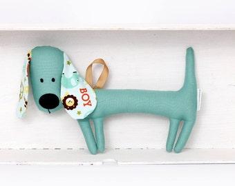 Rattling Green Dachshund / Rattle / Stuffed Dog Sewn Premium Quality Fabric / Soft Toy / Rattle