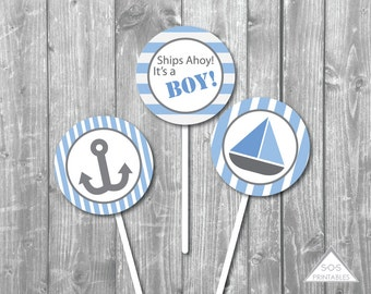 """Nautical Sailboat Baby Shower 2"""" Cupcake Topper  - Printable PDF - Instant Download - Immediate Download"""