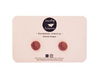 Geometric handmade clay stud earrings