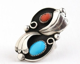 Sale - Vintage Turquoise Ring - Retro 1970s Size 7 Sterling Silver Coral - Native American Southwestern Blue Red Gem Leaf Statement Jewelry