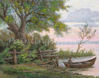 Fisherman Painting- Boat Painting - Landscape painting -Old - Tree -11 x 14