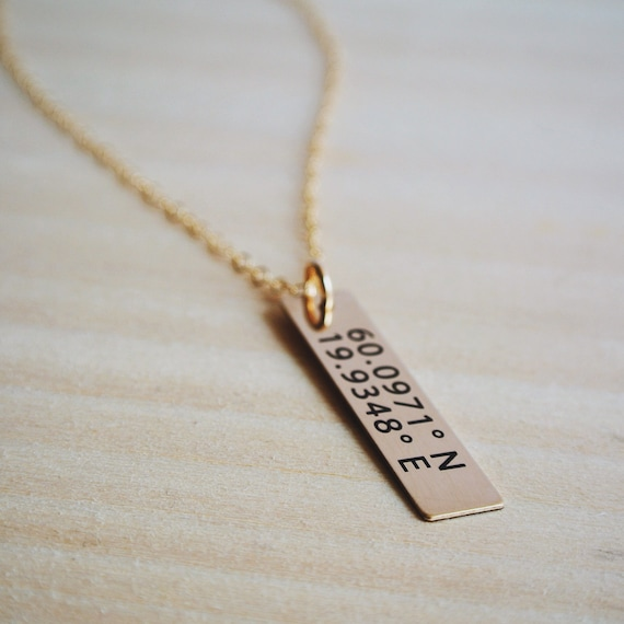 Gps Coordinates Necklace: Longitude Latitude Gold Bar Necklace GPS Coordinates Jewelry