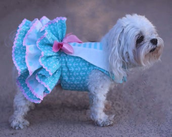 Dog Dress, Dog Harness Dress, Dog Fashion for Small Dog, Ruffle Dress for Dogs, Summer Dress for dog, Sailor Dog Dress , Handmade, Mint