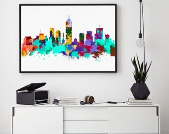 Indianapolis Skyline Art, Indianapolis Print, Indianapolis Painting, Indianapolis Poster, Watercolor Indianapolis, Indiana Painting  (N178)