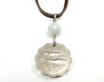 Fish Necklace | 1975 Coin Necklace | Genuine Aquamarine | March Birthstone | Bahamas Necklace | 42nd Birthday Gift | Flamingo Necklace