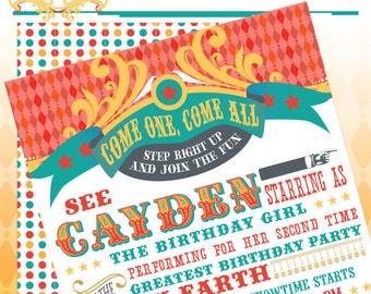 Circus Party Invitation - Printable Circus Birthday Party Invite - DIY Print - Vintage Carnival - Made to Order - Printed Invitations