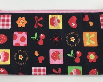 Pencil Pouch in sweet flower cotton