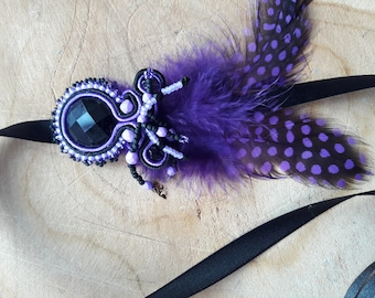 Purple and black headband, feathers and beads on satin ribbon