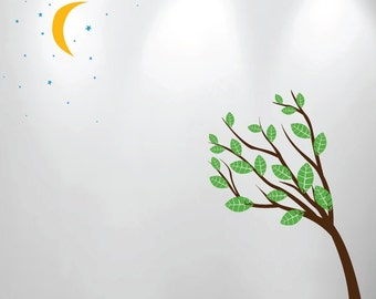 Large Wall Tree Nursery Decal Moon Stars Night Sky 1138 (7 feet tall tree)