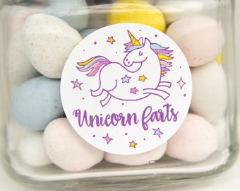Unicorn Farts Stickers - Unicorn Party - Unicorn Packaging - Unicorn Stickers - Unicorn Party Favors - Unicorn Labels - 1.5 inch circle