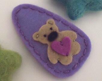 Felt Hair Clip -No Slip -Wool Felt -Teddy bear -lavender