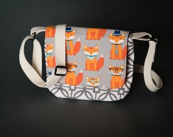 Fox Messenger Bag, Mini Messenger Bag, Kid's Bag, Cross Body Bag, Shoulder Bag, Cell Phone Bag, Airplane Bag, Travel Bag, Small Purse, Fox