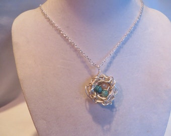 """18"""" Blue and Pink Bird's Nest Necklace on Silver Chain, Bird, Nest, Necklace, Blue, Pink, Eggs"""