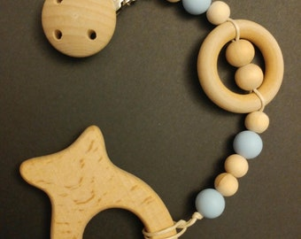 Pacifier clip-untreated natural wood with silicone free PBA with munched wooden beads.