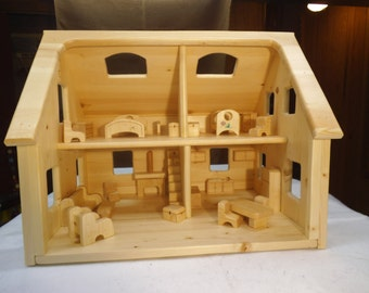 Dollhouse, two story, four rooms, with furniture