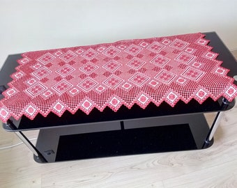 Hardanger embroidery tablecloth doily handmade