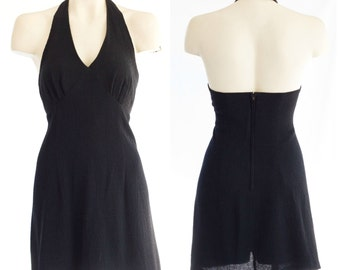 Short black halter top dress NEW with tags