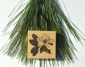 Magnolia Blossom Wood Block Ornament