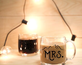 Mr and Mrs Mugs Wedding Gift Mountains Woodlands His and Hers Mugs Personalized Gift Clear Mug Glass Mug Engagement Gift Mountain Mug