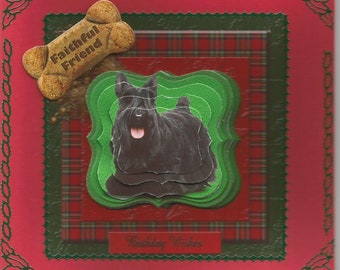 RESERVE TUROULAT. Animals, 3d card, handmade, diamond dogs category: scottish terrier - mother of day and father's day.