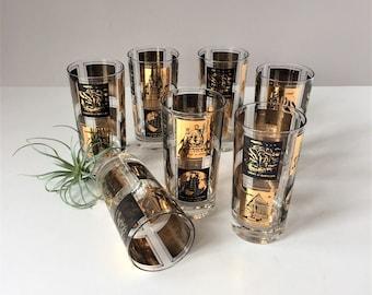 Mid Century Bar Glasses, Vintage 1960s Highballs, Set of Seven Retro Cocktail Glasses, 7 Wonders of the World, Frank Maietta Bar Cart Decor