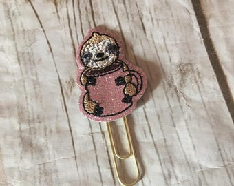 Coffee Hugging Sloth Planner Paperclip, planner accessories, sloth planner clip