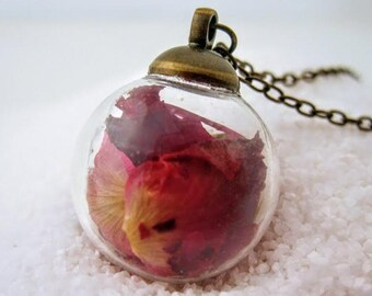 Bubble necklace / rose necklace / terrarium necklace / romantic gifts / rose gift rose pendant / valentines / real flower rose petal jewelry