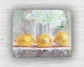 Yellow Painting Print of Still Life Oil Painting Flower Home Decor Wall Art, Kitchen Food Room Decor, Shabby Chic Dining Room Art Print