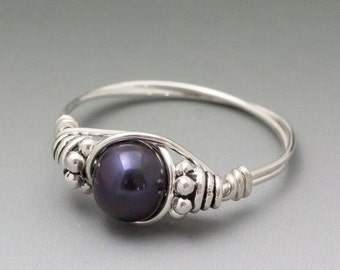 Cultured Black Pearl Bali Sterling Silver Wire Wrapped Bead Ring - Made to Order, Ships Fast!