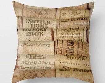 Wine Corks Pillow Cover-Cork Pillow Cover-Neutral Home Decor-Photo Throw Pillow-Sofa Pillow-Toss Pillow Cover-Lumbar Pillow-Wine Gift Ideas