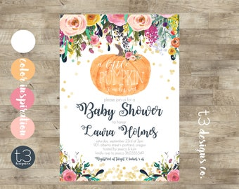 Girl Little Pumpkin Baby Shower Invitation, Girl Baby Shower Invite, Pumpkin  Baby Shower Invite, Fall Baby Shower, Pumpkin Watercolor