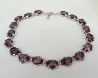 Riviere Necklace 1950s Georgian Collet Anna Wintour Purple Marbled Glass Open Back Choker Adjustable Vintage Necklaces UK