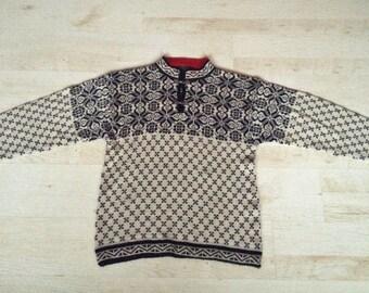 Scandinavian Sweater for Men Vintage cardigan Nordic pattern cardigan Black white red Knit Sweater Wool and acryl cardigan hipster jumper