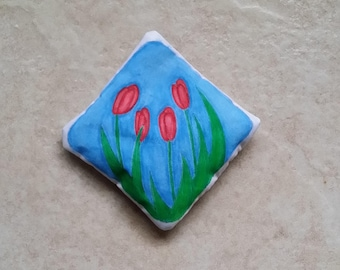 Real Lavender Filled Sachet Handmade Hand Painted Red Tulips OOAK