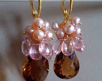 25% Off Sale Whiskey Quartz with Mystic Pink Quartz and Soft Pink Freshwater Pearls on Gold Vermeil Leverbacks Gift For Her