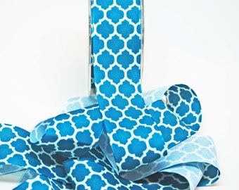 Lattice Print Ribbon Linen -- 1.5 inches -- Turquoise Ivory -- 2 yards Quatrefoil