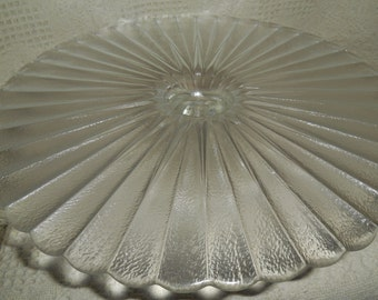 Cake Stand with Textured Glass and Scolloped Edge.