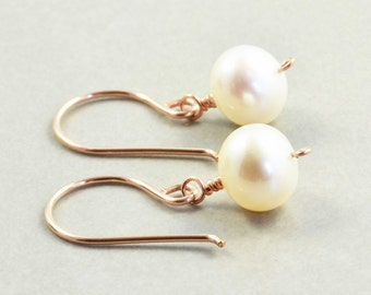 White Pearl Earrings, Rose Gold, June Birthstone, Pearl Drop Earrings