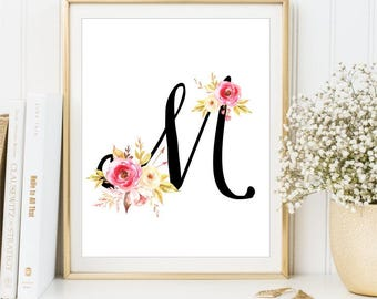 Personalized Watercolor Flower nursery Letter print, Monogram Art, Shabby nursery sign Nursery Wall Art Nursery name floral DIGITAL FILE
