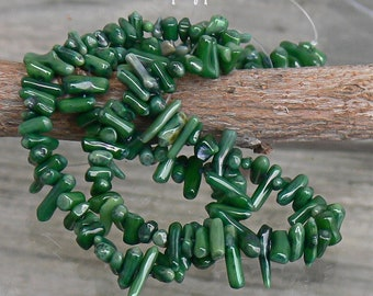 Green Cupolini Stick Coral Branch Beads Strand 155b
